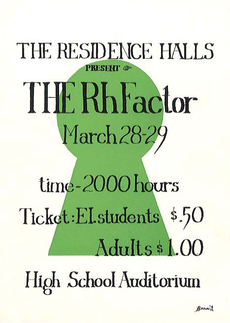 69 Residence Hall Show - The Rh Factor, provided by Gail Clark Wical '69
