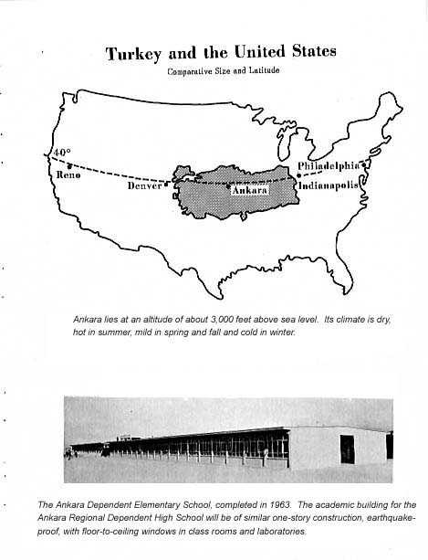 Comparative map and picture of new elementary school circa 1966